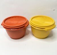 Set Of Two Vintage Tupperware Bowls Orange Yellow Servalier Bowl With Lids
