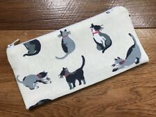 HANDMADE PENCIL MAKE UP GLASSES CASE - CATH KIDSTON SMALL PAINTED CATS FABRIC