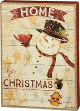 """New!~Wood 14"""" Box Sign~""""Home for Christmas""""~Primitive /Country~Snowman in top hat"""
