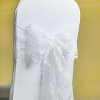 50/100 white Lace Bow Sash for chair cover sashes For Wedding Banquet Party bow