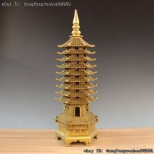 Chinese Buddhism Temple Brass Copper FengShui Wenchang Stupa Pagoda Tower Statue