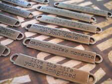 Quote Pendants Connectors Link Antiqued Silver Oil Brushed Inspirational Set 12