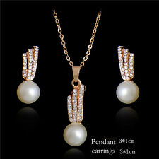 1-Set 18k Yellow Gold Plated Fresh Pearl Rhinestone Pendant Necklace Earrings