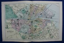 PLAN OF DUBLIN, IRELAND, original antique atlas map / city plan, G. Bacon, 1895
