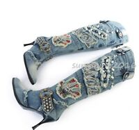 US89 Women's Denim Rhinestone Zipper Stiletto Heel Pointy Toe Knee High Boots @