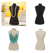2pcs Female Mannequin Necklace Jewellery Display Bust Stand Black Beige