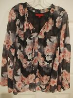 Jennifer Lopez Shirt Women's Large Floral Print Sheer Bell Long Sleeve