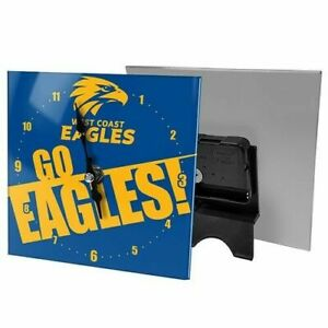 AFL West Coast Eagles Mini Glass Desk Clock - Brand New