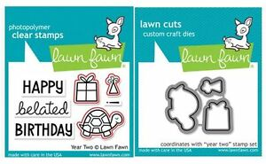 Lawn Fawn Photopolymer Clear Stamp & Die Combo ~ YEAR TWO Turtle ~ LF510, LF834
