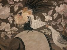 ANTIQUE JAPANESE MEIJI HAND EMBROIDERED SILK ROOSTER CHICKEN ROSES SILK PANEL