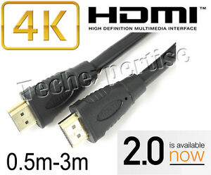 Premium HDMI Cable V2.0 Gold Plated High Speed 3D 4K Ultra HD 0.5m 1m 1.5m 2m 3m