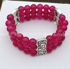Natural 3 rows 8mm rose Jade Beads Stretch Tibetan silver Gems Bracelet 7.5'' AA