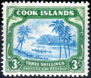 Cook Islands 1938 3s Greenish Blue & Green SG129 Fine Mtd Mint