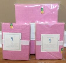 NEW Pottery Barn Kids Oxford PINEAPPLE Embroidered FULL QUEEN Duvet + Shams PINK