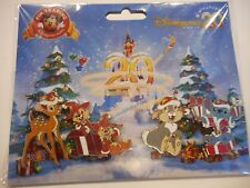 DLP 20th Ann Christmas Booster Lot Of 4 NEW Disney Pins Stitch Chip &Dale Bambi