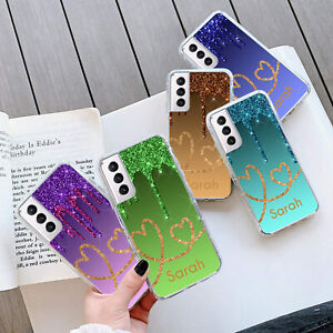 PERSONALISED Glitter HEART GEL Case Cover For Samsung S21 Plus Ultra 268