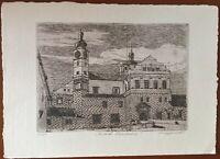 Burget's Etching of the Renaissance Castle of Pardubice 4/45. 2013 ORIGINAL