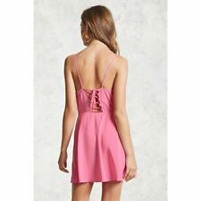 NWT FOREVER 21 Pink Empire Waist Lace Up Corset Fit & Flare Skater Cami Dress S