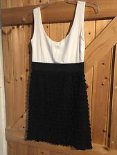 "Stretch Black & White Dress By Jane Norman Size 10 Chest 34"" Lovely Frill Dress"
