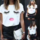 2016 Fashion Womens Ladies Eyelash Summer Loose Tops Short Sleeve Blouse T Shirt