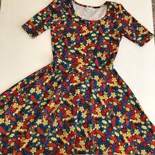 LuLaRoe Nicole L Colorful Print Blue Orange Red Floral Leaves Dress Large