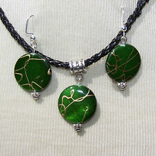 GREEN GOLD SHELL  ON BLACK  CORD NECKLACE & EARRINGS   handmade