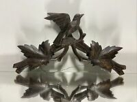 VTG. Hand Carved Black Forest Wood Bird on Branch Wall Sculpture