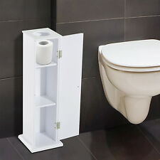 2 in 1 Standing Tissue Storage Cabinet Toilet Roll Paper Holder Wooden Bathroom