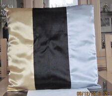 GOLD / BLACK AND SILVER SATIN DESIGN CUSHION COVER