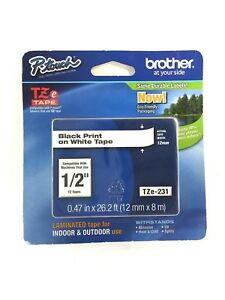 P TOUCH Brother Label Tape New 1/2 inch Tze 231 (H5)