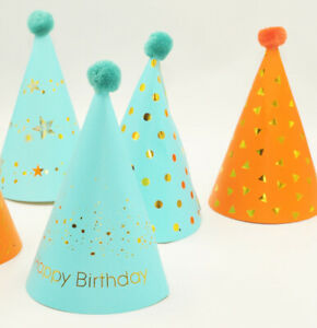 Kids Birthday Party Hats with Pompoms Festival Celebration Table Decor 10pcs