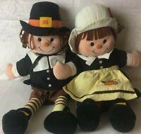 Vintage Thanksgiving Pilgrims Boy Girl Plush Stuffed Toy 1997 Gibson Greetings