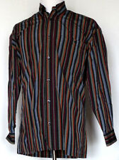 Norm Thompson Gray Black Red Orange Striped L/S Shirt M