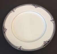 "Noritake SQUIREWOOD Black Gray Floral Platinum Trim DINNER PLATE 10+"""
