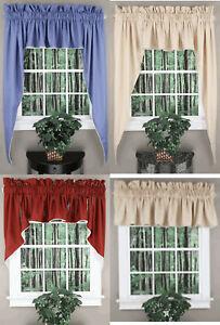 "Renaissance Home Emmett Valance & Swags 3 Piece Set 63"" or 36"" Length Curtain"