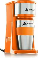 AdirChef Orange Grab N' Go Personal Coffee Maker with 15 oz Travel Mug
