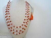 collana 3 fili cristallo e corniola montata su cordino classico orientale  48 cm