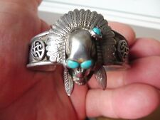 Beautiful,old Bracelet,Indian Jewelery, Skull, 925 Silver With Turquoise