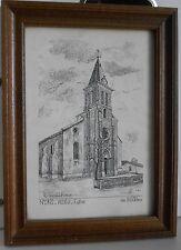 ANCIENNE GRAVURE(LITHOGRAPHIE ENCADREE,Y. DUCOURTIOUX N° 0192-VILLIEU -Eglise