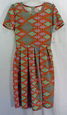 Womens LuLaRoe Dress SMALL Amelia Brown Red Blue Multi Colored Geometric NWT