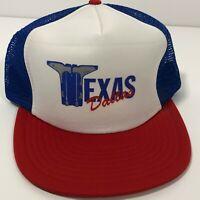 Dallas Texas Cowboy Boots Logo Vintage 80s Trucker Hat Blue Mesh Snapback Cap
