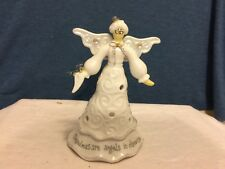 "Ganz White Angel Candle Holder ""Grandmas are Angels in Disquise"""