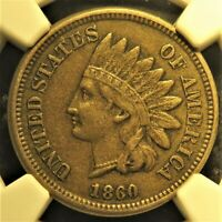 1860 pointed bust Indian Head Cent graded XF 45 by NGC!