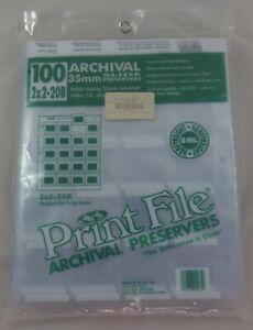 Print File 100 Archival 35mm Slide Preservers Slides 2x2-20B Top Load Organize