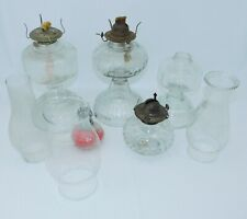 Lot of 5 Antique Vintage Glass Oil Kerosene Hurricane Lamps, And 3 Tops