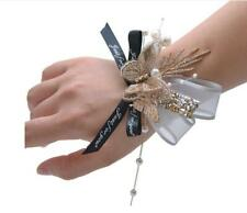 gold beaded rhinestone butterfly black ribbon just for you prom bridal corsage