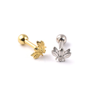 9ct GOLD BEE Micro BARBELL 1.2 x 6mm   1.2 x 8mm  Cartilage Tragus Helix Ear Bar