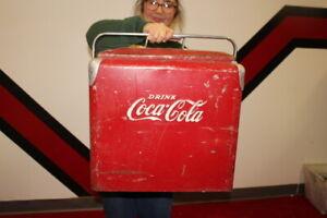 Large Vintage 1950's Coca Cola Soda Pop Picnic Cooler Metal Sign
