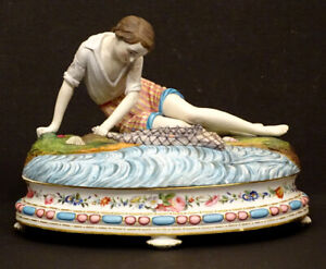 1840's French JEAN GILLE Antique BOY w/ FISH NET Hand Painted BISQUE STATUE Box