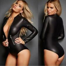 Biker Motorcycle Style Women's Leather Bodycon NIGHT CLUB JUMPSUIT Sexy Tops Hot